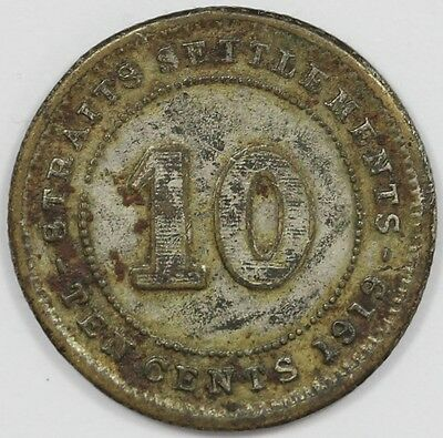 1926 George V Straits Settlement Silver 10 Cent Coin
