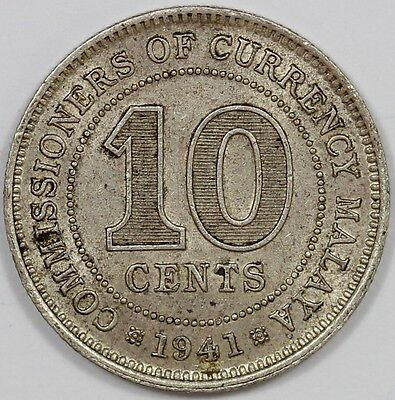 1941 British/Malaya Ten Cent - 2.71 grams – 50% silver