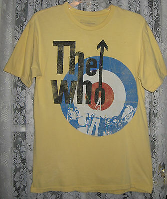 The Who Rock Band Yellow Distressed-Look Lettering T Shirt 2008 M Look !