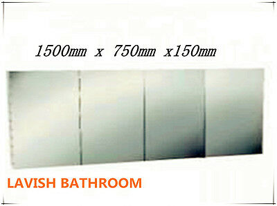 Bathroom 1500mm PENCIL EDGE  Mirror Shaving Cabinet.Vic