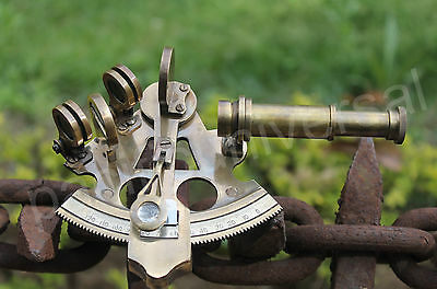 Solid Brass Sextant Antique Maritime Working Astrolabe Vintage Nautical Sextant