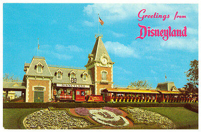 Postcard Greetings from Disneyland Entrance Train Floral Mickey.