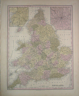 Antique Tanner 1841 Hand Colored Map of England w/ Environs of London Liverpool