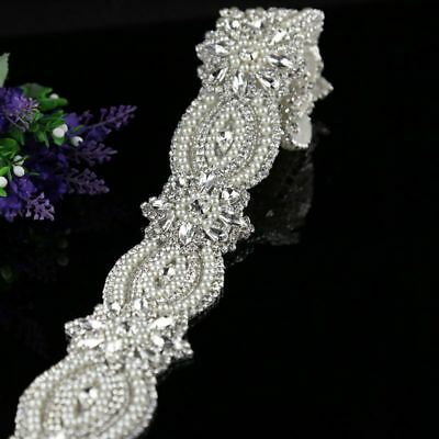 1Yard Rhinestone Applique trim belt  crystal Pearl Applique Wedding Bridal