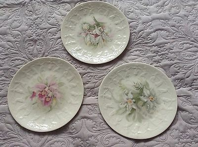 Pretty Flower Decorated China Plates X3