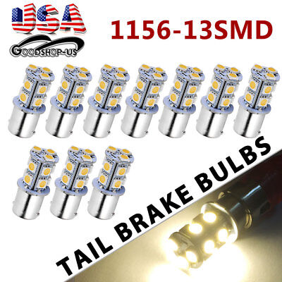 10x Warm White 1156 BA15S 13-SMD RV Camper Trailer LED Interior Light Bulbs 12V