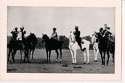 Russian Postcard Tsar Nicholas II of Russia & Alexi with Military Troops