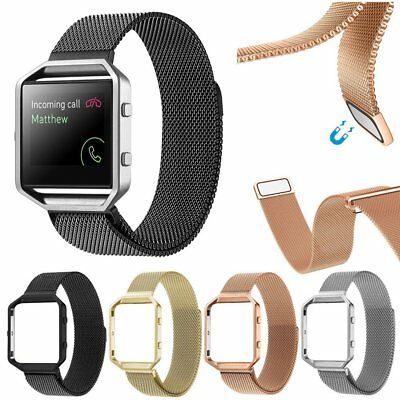 Milanese Magnetic Wrist Watch Band Bracelet Strap + Metal Frame For Fitbit Blaze