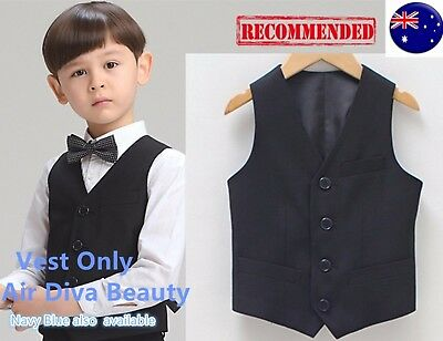 Page Boy Child Kid Party Wedding Black or Navy Formal costume Vest Waistcoat