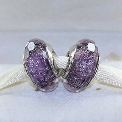 S925 Silver EURO Charm Dark Purple Shimmer Faceted Murano + FREE Pandora Cloth