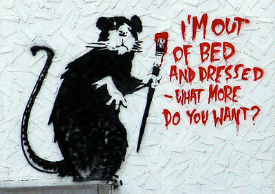 """BANKSY RAT OUT OF BED NEW A4 CANVAS GICLEE ART PRINT POSTER 11.7"""" x 8.3"""""""