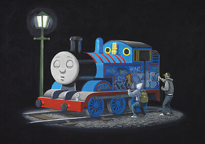 "BANKSY THOMAS TANK ENGINE NEW A4 CANVAS GICLEE ART PRINT POSTER 11.7"" x 8.3"""