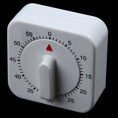 Down Cook Round Food Baking White Square Mechanical Timer 60 Minutes Kitchen