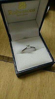 Platinum Emerald cut solitaire diamond ring 0.30ct with paperwork and receipt