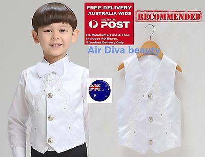 Page Boy Child Kid Toddler Party Wedding White Formal Vest  Waistcoat  Bowtie