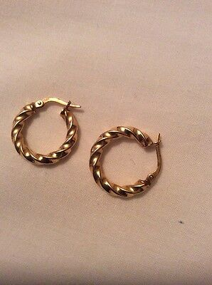 9ct Gold Twisted Hoop Earrings. New in Box.
