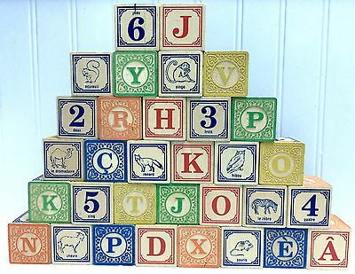 """Uncle Goose FRENCH ABC Wooden 1 3/4"""" Blocks Lindenwood 062033 Complete 32 Pcs"""