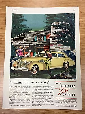 RARE 1939 CADILLAC Sixty Special Vintage Colour Large Car Advert L37