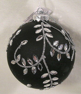 "Christmas Ornament, 4"" Black Glass Ball Silver Rhinestone Design by Holiday Time"