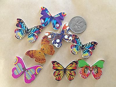 10 Wooden Butterfly Buttons - Randomly Selected -