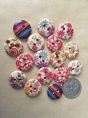 20 Floral Buttons - Randomly Selected -