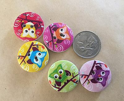 10 Owl Buttons - Randomly Selected -