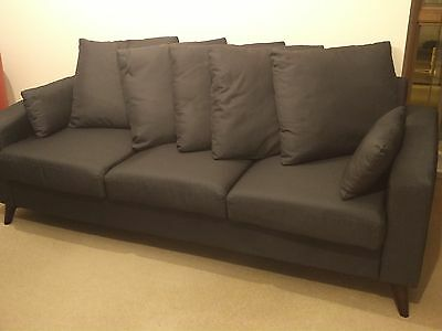 Grey Charcoal Fabric 3 Seater Modern Sofa Cheap