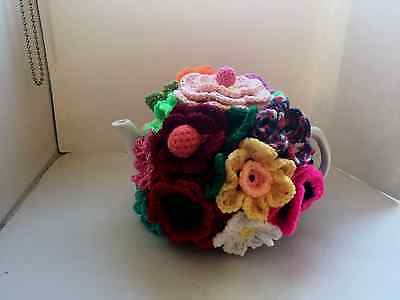 Hand Lovely knitted tea cosy  flower garden  4 cup