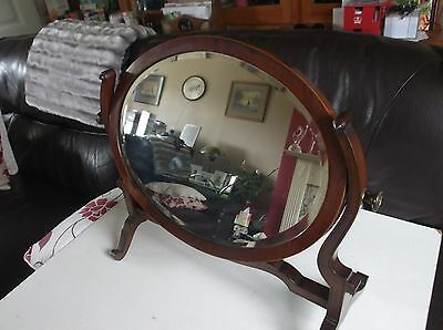 Edwardian Oval Bedroom/toilet Swing Mirror In Mahogany