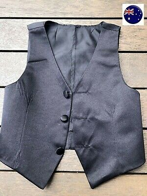 Page Boy Child Kid Toddler Baby Party Wedding Black Formal Vest  Waistcoat  0-9Y