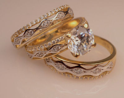 14K Yellow Gold Diamond Wedding Set Trio Bridal Engagement Ring His And Her Band