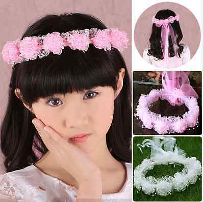 Girl's Boho Flower Crown White Pink Halo Hair Wear Beach Wedding Headband