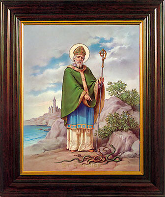 SAINT PATRICK FRAMED PICTURE - 100's OF RELIGIOUS STATUES AND CANDLES LISTED