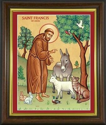 SAINT FRANCIS OF ASSISI - FRAMED PICTURE 100's OF STATUES AND CANDLES LISTED M10