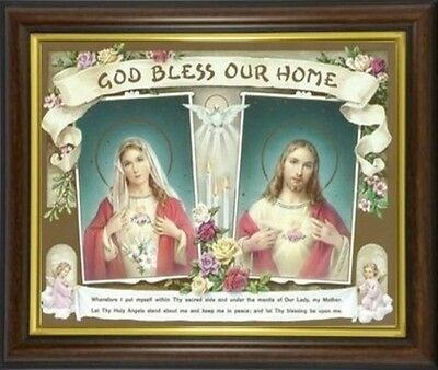 God Bless Our Home Sacred Heart Jesus Framed Picture Statues Candles Listed M10