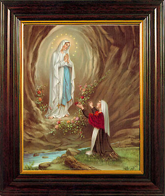 Our Lady Of Lourdes Framed Picture - Statues Crucifixes Candles Also Listed