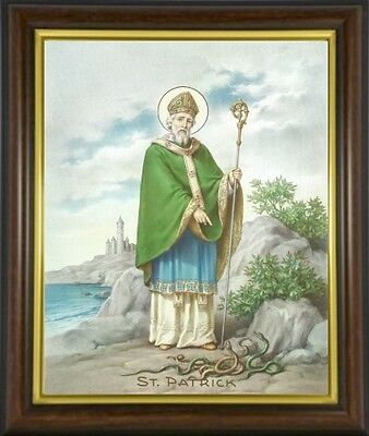 St Patrick Patron Saint Of Ireland Framed Picture Statues And Candles Listed M10