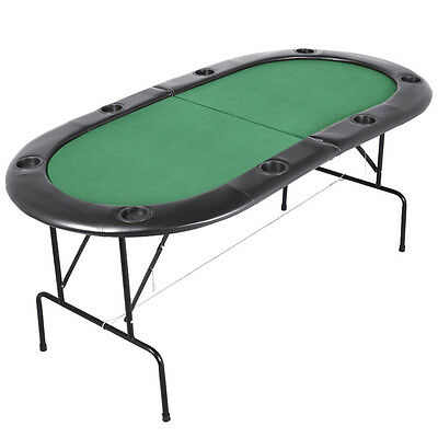 Folding Poker Table Top in Green Speed Cloth with Leather Armrest Seats 8 People