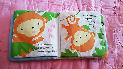 Soft fabric/material baby book - little monkey EUC