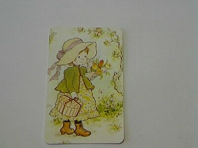 """1 Single Swap/Playing Card-Sarah Kay""""Unsigned""""Girl Carrying Flowers (Blank Back)"""