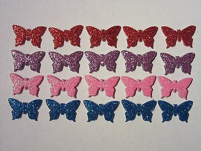 20 Butterflies, Punched. 4 colours, Adhesive glitter foam, 23mm