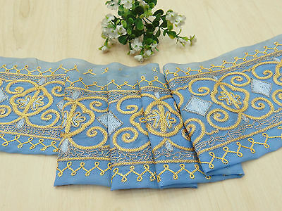 Vintage Indian Sari Border Embroidered Sewing 1YD Blue Used Ribbon Trim Lace
