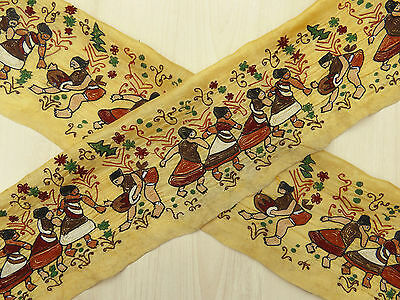 Vintage Indian Sari Border Embroidered Trim Ribbon Used Wrap Yellow 1YD Lace