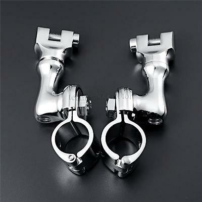 """1"""" Chrome Motorcycle Longhorn Offset Highway Foot Peg Mounts Magnum Quick Clamps"""