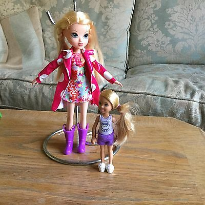 2 dolls - Barbie Chelsea and Monster High doll with raincoat and boots