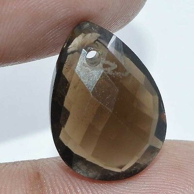 11.60 Cts. 100% NATURAL FACETED SMOKY QUARTZ DRILLED LOOSE GEMSTONES S-19X14MM