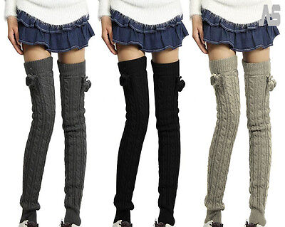 Women's Winter Leg Warmers Long Wool Crochet Knit Knee Legging Socks Boots UK