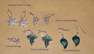 Lord of the Rings Arwen, Galadriel, Eowyn, Elven & Enamel Earrings Collection