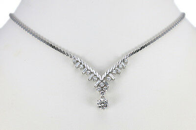 Brillantcollier 1 Brillant 1,05 ct TW/vs + 20 Brill. 750 Weißgold [BRORS 10846]