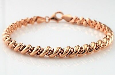 """Rose Gold Plated 925 Sterling Silver San Marco Style Bracelet 7.5"""""""